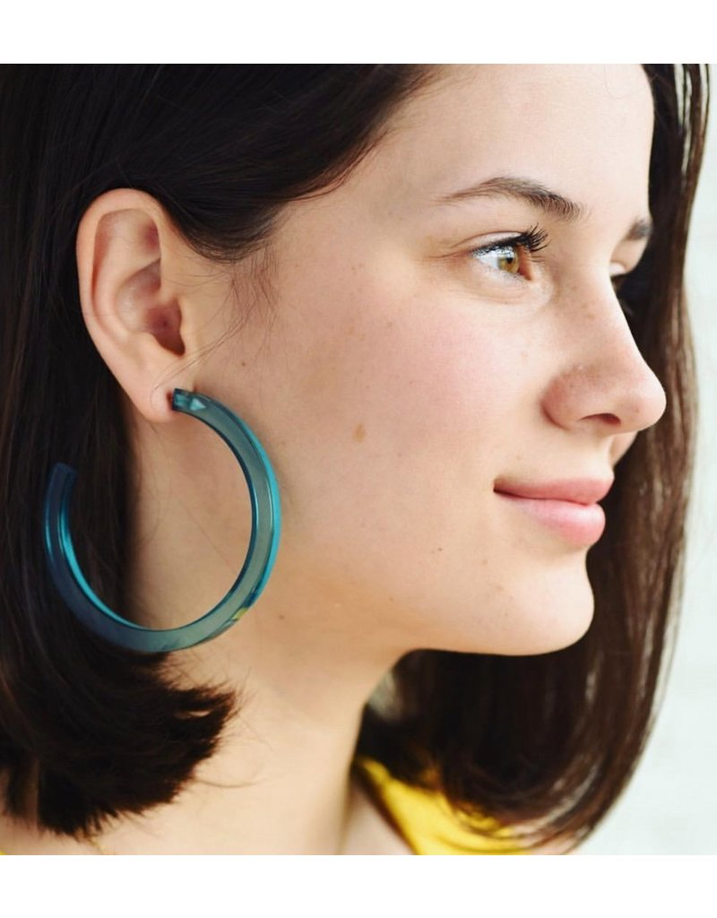 """Ink + Alloy Turquoise Lucite Hoop Earring 2.75"""""""