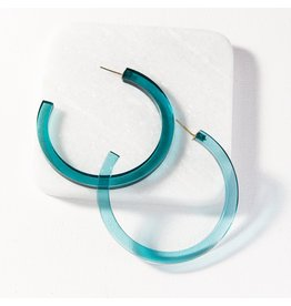 Ink + Alloy Turquoise Lucite Hoop Earring 2.75""