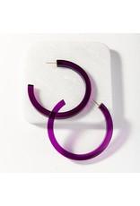 "Ink + Alloy Eggplant Lucite Hoop Earring 2.75"""