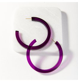 Ink + Alloy Eggplant Lucite Hoop Earring 2.75""