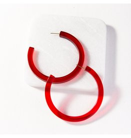 Ink + Alloy Red Lucite Hoop Earring 2.75""
