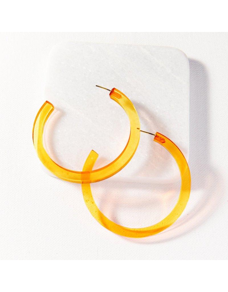 "Ink + Alloy Amber Lucite Hoop Earring 2.75"""