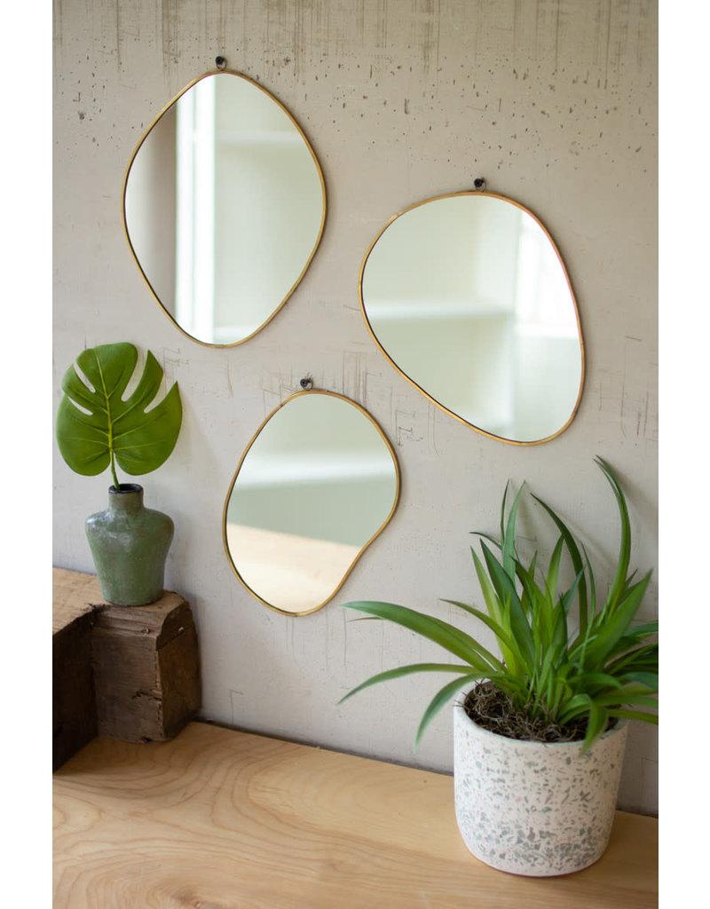 Kalalou Set of 3 Brass Framed Organic Shaped Mirrors