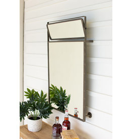 Kalalou Metal Framed Wall Mirror With Top Rotating Mirror