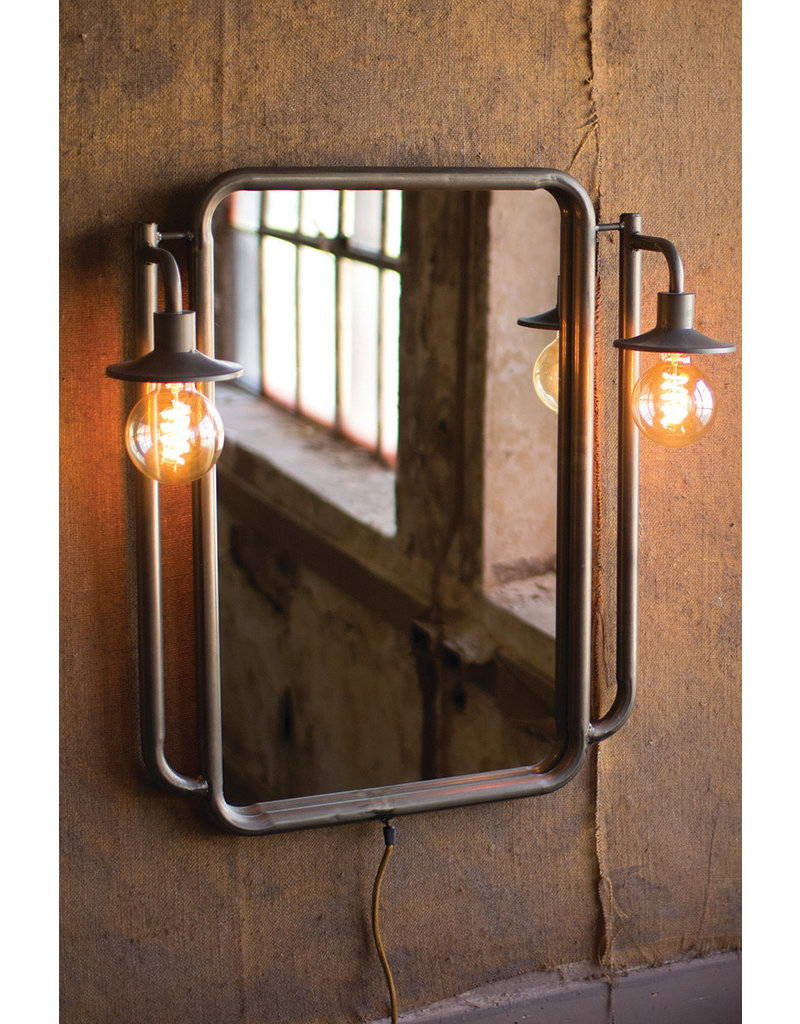 Kalalou Wall Mirror With Two Lights