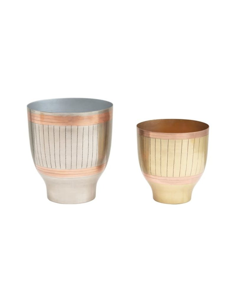 Creative Co-Op Engraved Metal Planters Set of 2