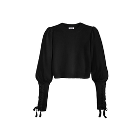 525 America Cropped Tie Black Sweater