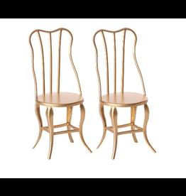 Maileg Micro Vintage Chair Set Micro Gold