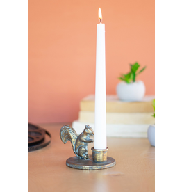 Kalalou Antique Brass Squirrel Taper Candle Holder