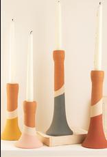 Kalalou Clay Stripe Taper Holders