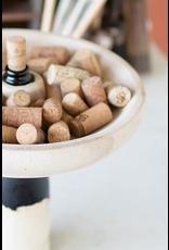 Kalalou Hand Carved Round Wood Bottle Topper