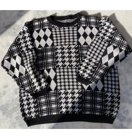 jennifer detrich smith Houndstooth Black and White Sweater SIze M/L