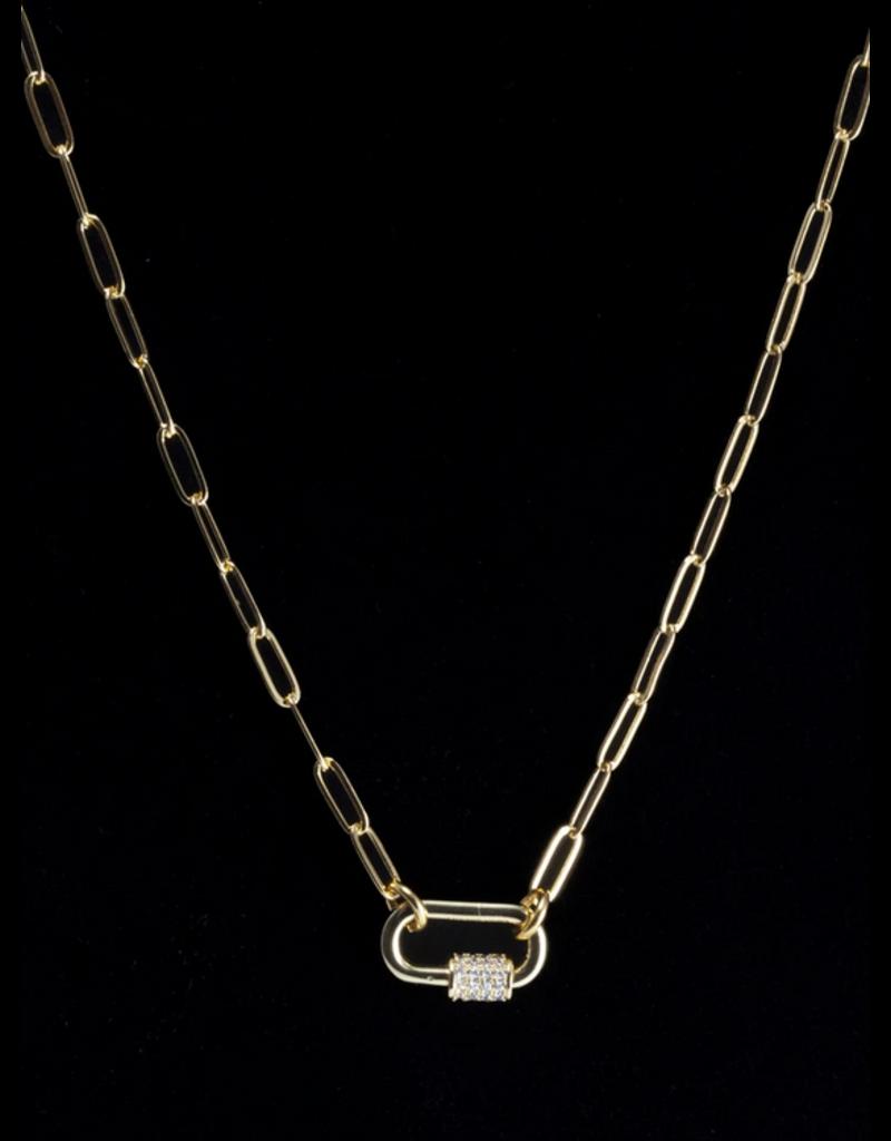 Wybo Silver Mini Spike Carabiner Spike Necklace