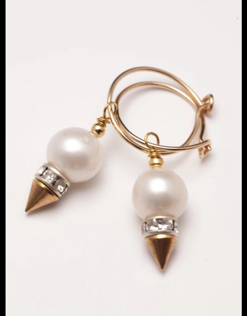Wybo Mini Pearl Spike Hoops
