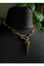 Wybo Gold Large Carabiner Spike Necklace
