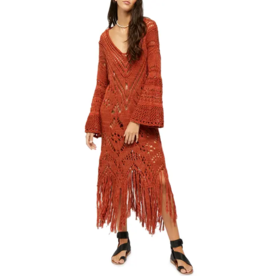 Free People Constellation Crochet Fringe Tunic Size M