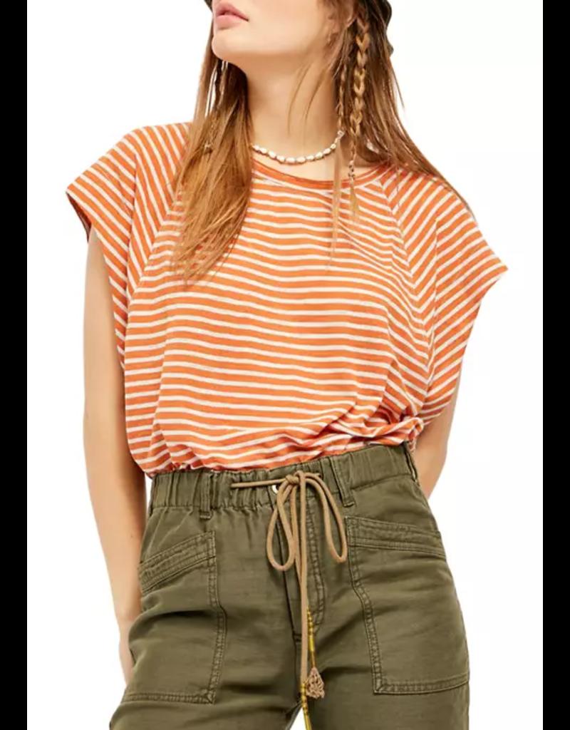 Free People Halo Orange Stripe Tee Size M
