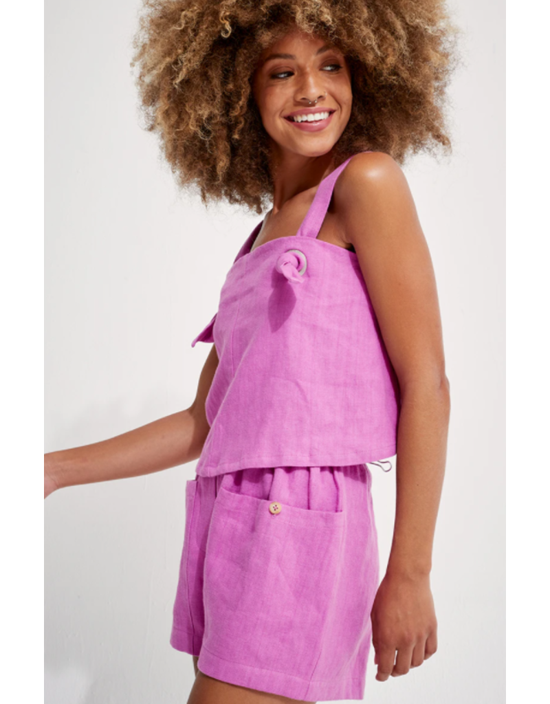 Back Beat Rags Cyber Linen Knotted Cami
