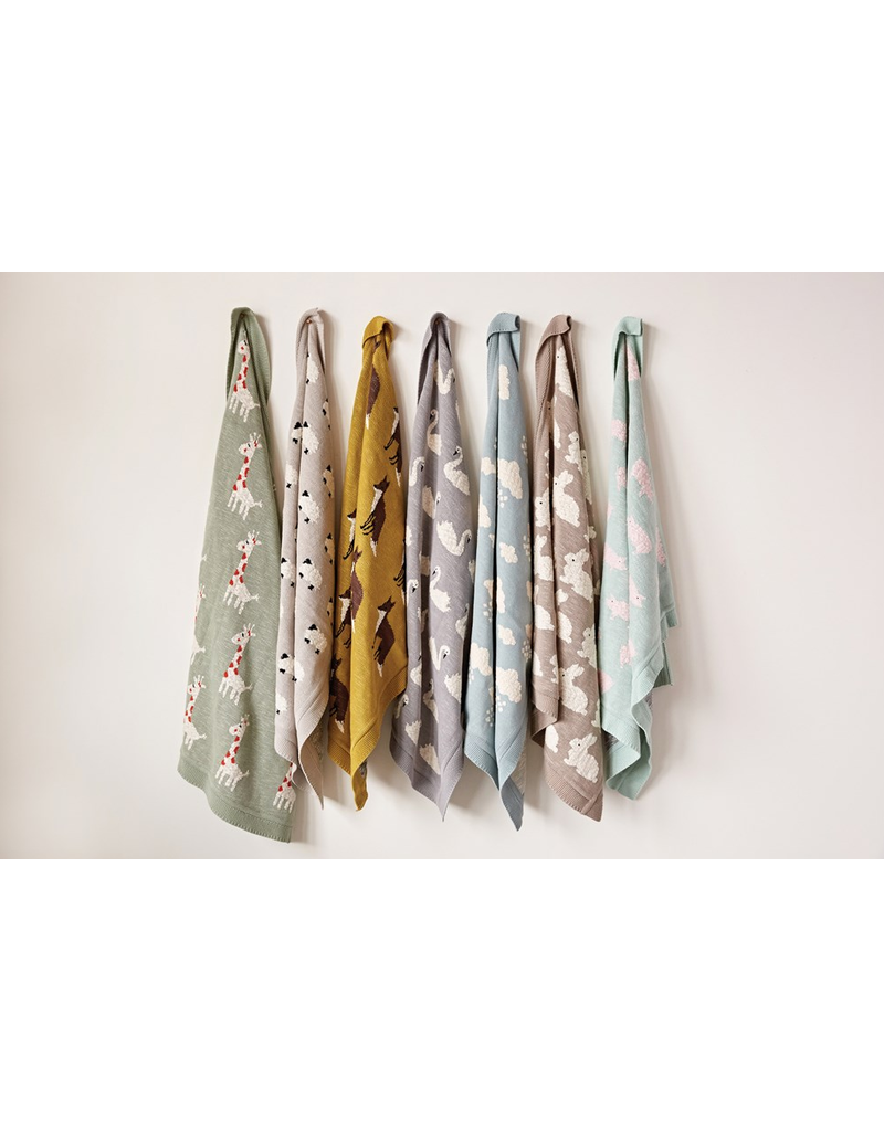 "Creative Co-Op Cotton Knit Blanket  Sheep, Light Grey 32""x40"""