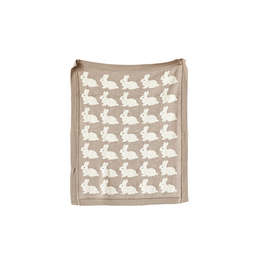 """Creative Co-Op Knit Blanket Bunny, Taupe 32""""x40"""""""