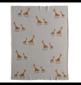 """Creative Co-Op Knit Blanket Giraffe, Ivory 32""""x40"""""""