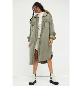 Free People Long Ruby Jacket Dirty Olive