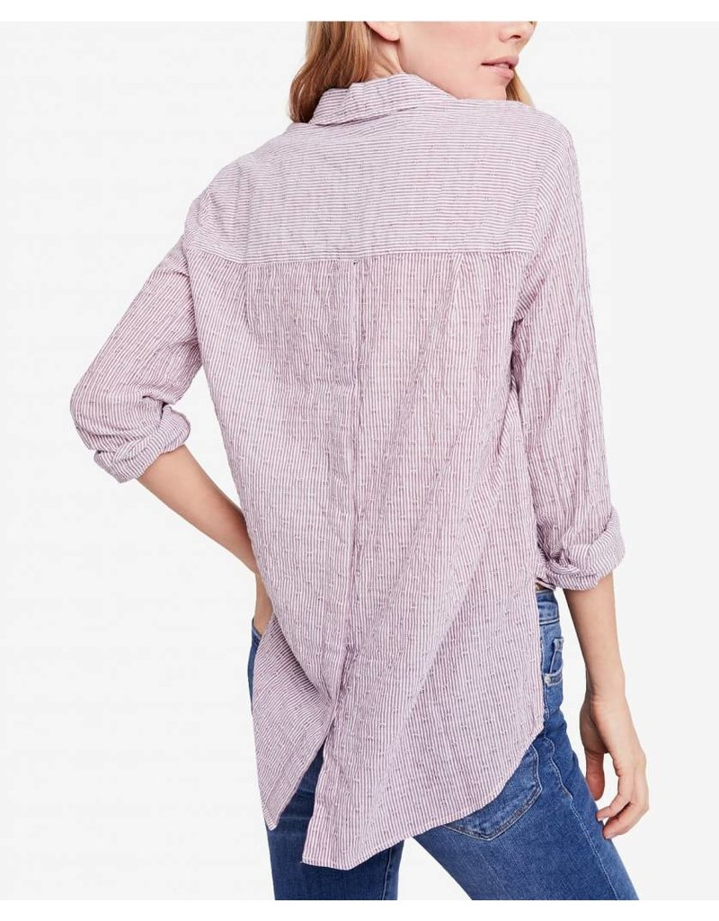 Free People No Limits Stripe Button Down Top