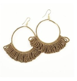 Ink + Alloy Gold Fringe Hoop Seed Bead