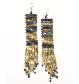 Ink + Alloy Gold and Gunmetal Long Seed Bead