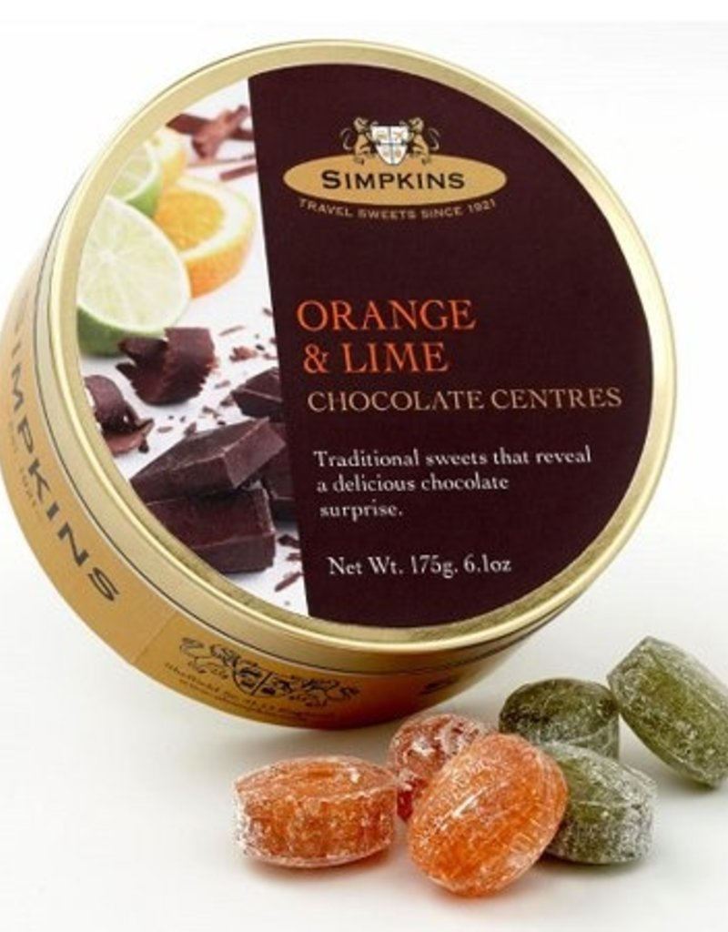 Simpkins Candy Tins - Chocolate Center Orange & Lime
