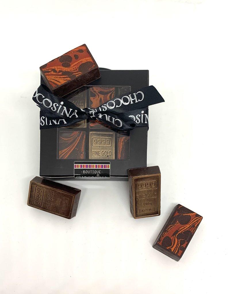 Mini lingots d'or chocolat noir artisanal 6pcs
