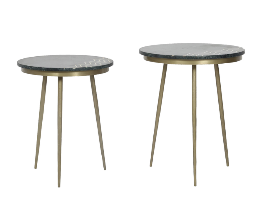 LH Imports Function Accent Table - Green Marble, Set of 2