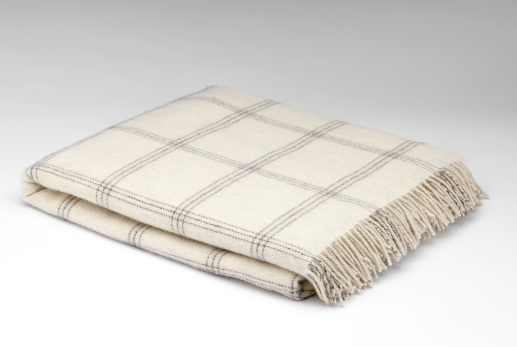 McNutt of Donegal White Pearl Window Alpaca Throw