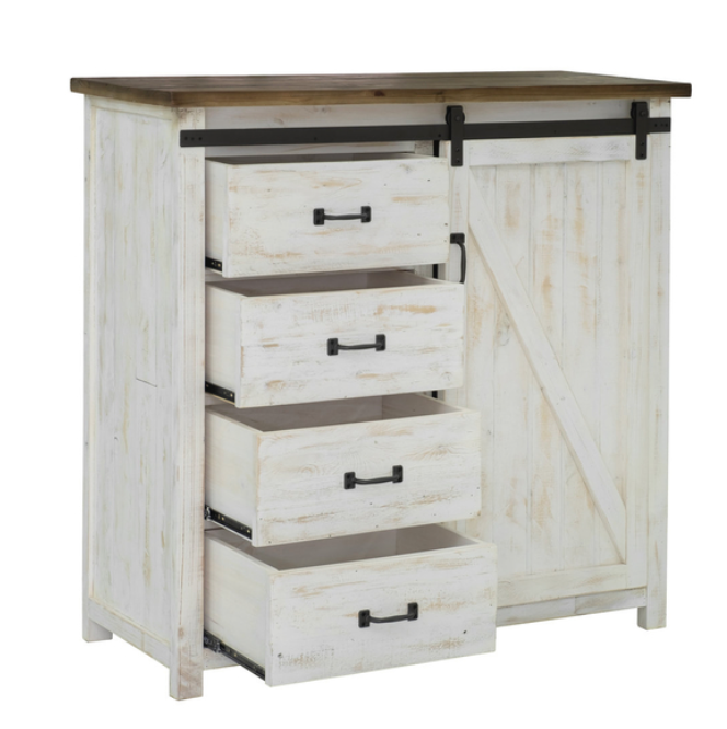 LH Imports Provence 4 Drawer Chest with 1 Door