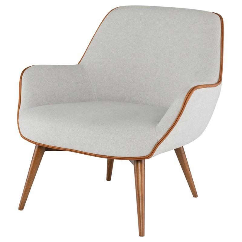 Nuevo Gretchen chair in Stone Grey with Caramel leather piping.
