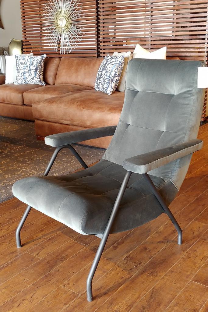 LH Imports Retro Lounge Chair - Aqua Grey Velvet