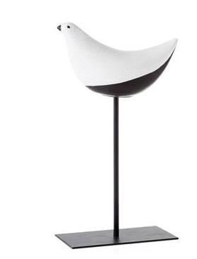 Torre & Tagus FINCH CRACKLE GLAZE BIRD ON STAND DECOR - MEDIUM