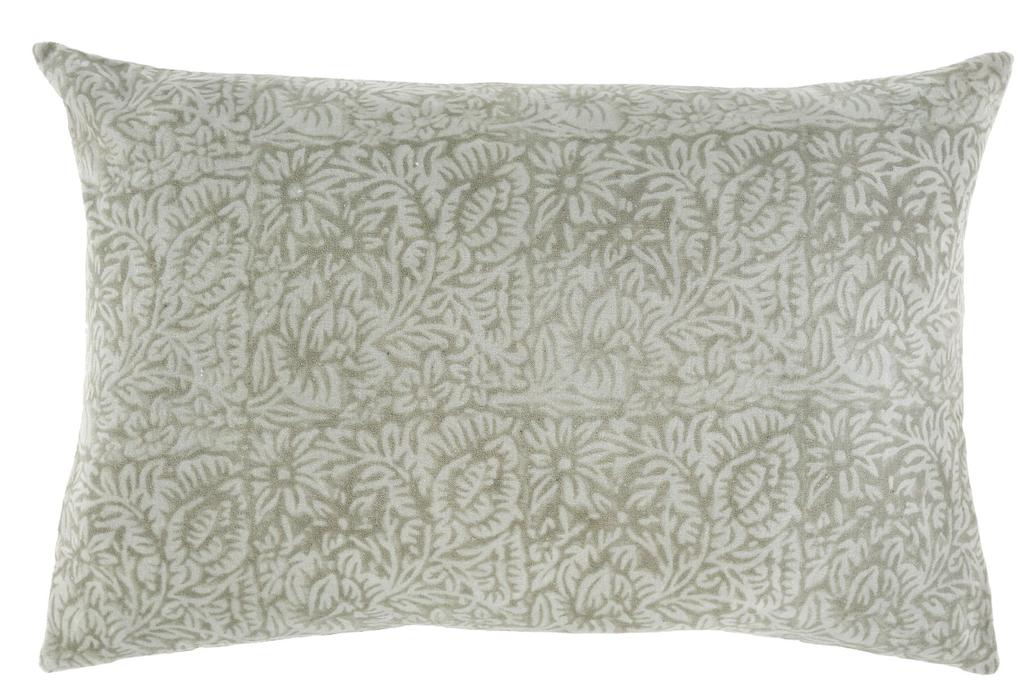 Printed Velvet Pillow, Mint