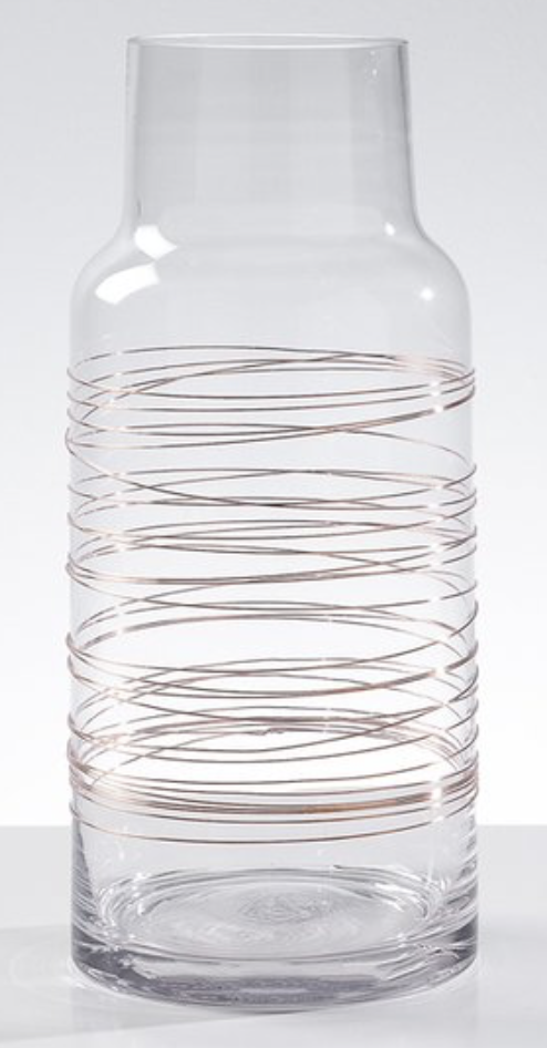 Torre & Tagus CYLINDRICAL COPPER SPUN WIRE GLASS VASE