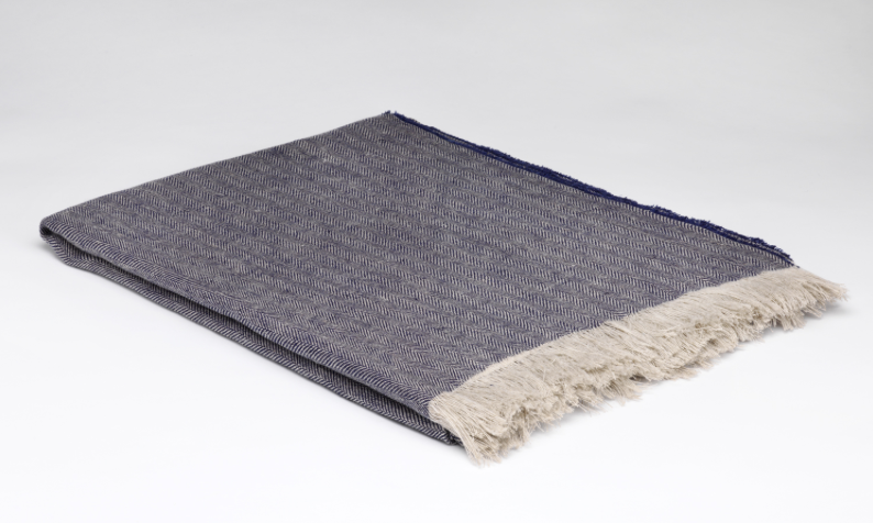 McNutt of Donegal Irish Linene Throw - Denim