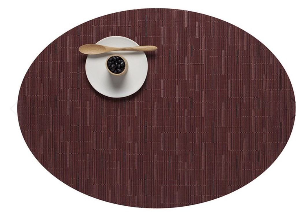 "Chilewich Bamboo Table Mat 15"" Round Cranbery"
