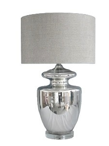 """Chrome base with linen shade. 18""""Lx18""""Dx31""""H"""