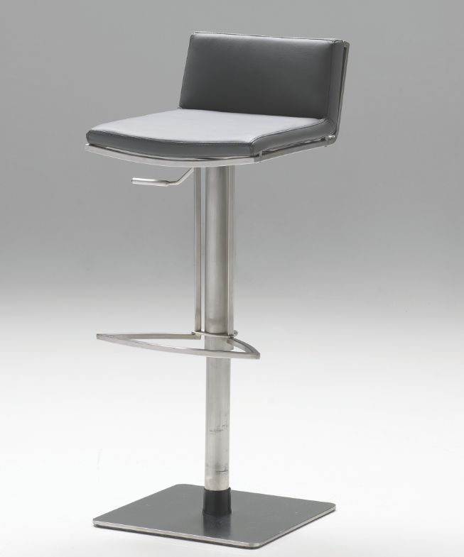Mobital Hydraulic counter stool in Grey leatherette and brushed stainless steel