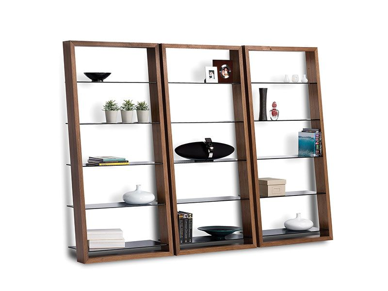 BDI USA Eileen leaning shelf with smoked tempered glass shelves & choc wal stain.