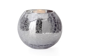 Torre & Tagus Crackle Mirror Sphere Vase / Candle Holder - Small