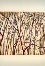 """Cristina Acosta Finches w/ red and yellow willows 36""""x60""""x3"""""""