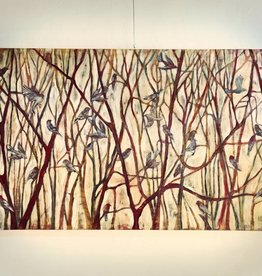 "Cristina Acosta Finches w/ red and yellow willows 36""x60""x3"""