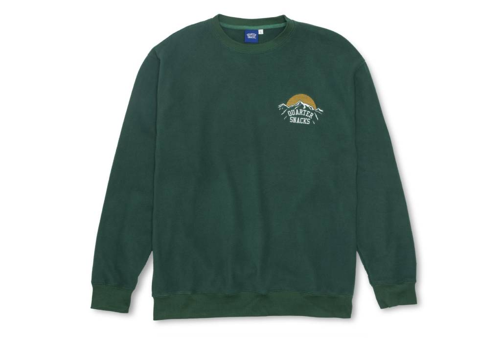 Quartersnacks Quartersnacks Mountain Logo Microfleece Crewneck - Hunter Green