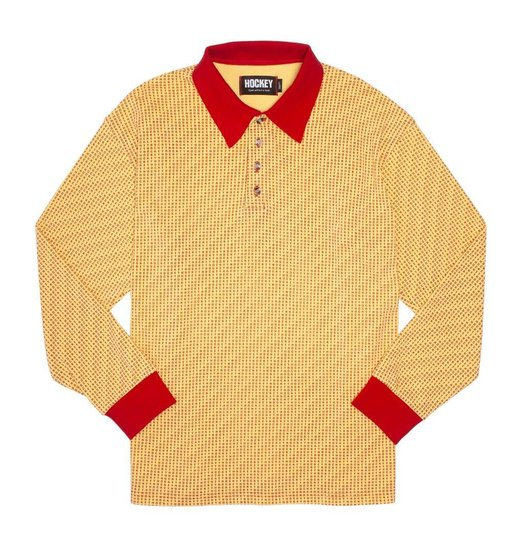 Hockey Hockey All Over Longsleeve Polo - Gold/Maroon