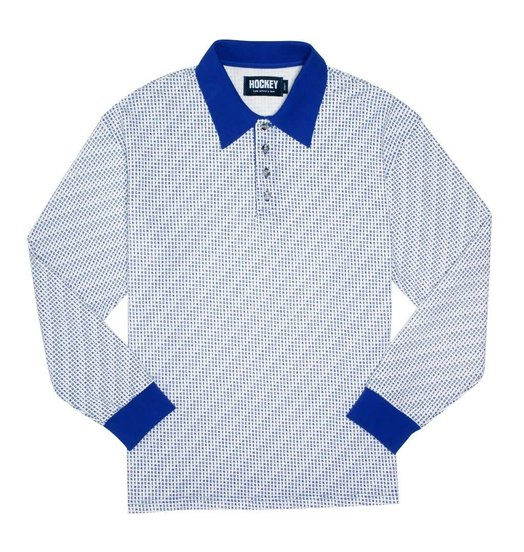 Hockey Hockey All Over Longsleeve Polo - White/Blue